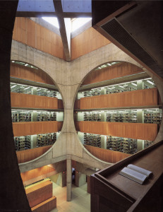 Figure 15: View of atrium.  Note the unobstructed views to most other parts of the library, and the natural light reaching the temporary reading shelf.