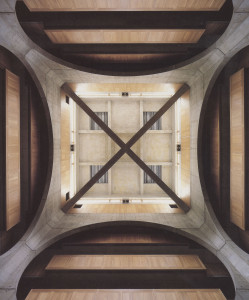 Figure 12: Exeter Library, atrium looking up at cross-brace and clerestory.