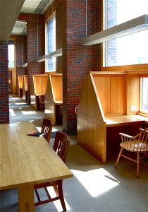 Figure 1b: The carrels at Kahn's Exeter library are a more personal and intimate place to read with better lighting.