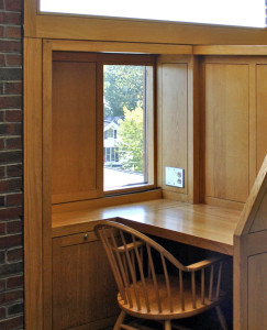 Figure 14b: Detail of individual carrel including sliding window panel that allowed the student to adjust the amount of sunlight
