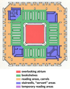 Figure 13: Exeter Library, annotated floorplan.