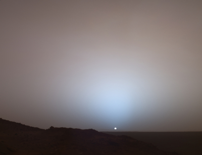 Sunset on Mars, photographed by the Spirit Rover in 2005.
