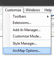 Accessing ArcMap Options