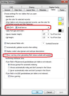 ArcMap options Tables tab