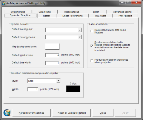 ArcMap Advanced Settings Utility