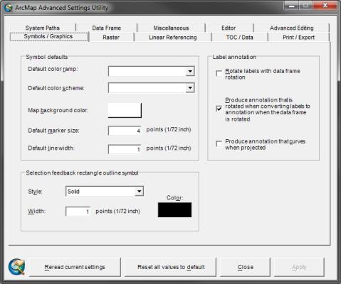 ArcMap Advanced Settings Utility