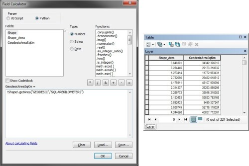 Calculating Geodesic Areas in ArcMap with Field Calculator